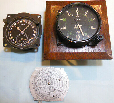 Original Ww2 Raf Royal Air Force Mounted Aircraft Altimeter, Clock And Nav Aid