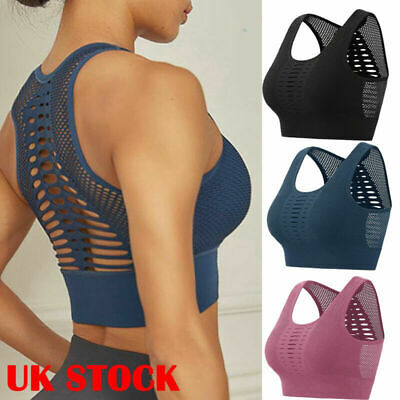 Womens Mesh Padded Sports Bra Crop Tops Gym Yoga Workout Fitness Shaper Vest UK