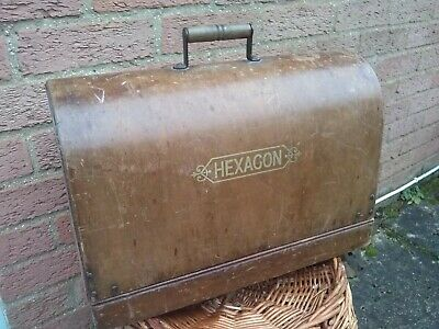 Antique Old Hexagon Sewing Machine - Base and cover plus key