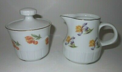 CP Germany colorful floral creamer and sugar bowl set. (4124K1)