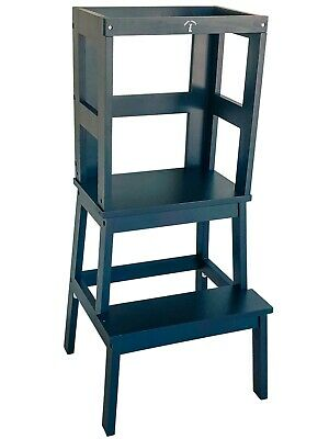 Safe Learning Tower - Little Risers Kitchen Helper -Toddler Tower. Black Caviar
