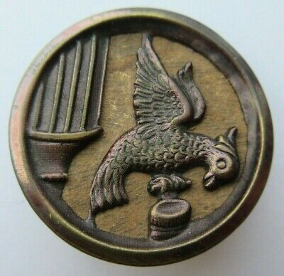 """Amazing XL Antique~ Vtg WOOD Back Tinted Metal Picture BUTTON Bird 1- 1/2"""" (D)"""