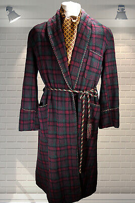 Vintage Gents 1960s Shawl Collar Dandy Wool Dressing Gown Smoking Jacket 44""