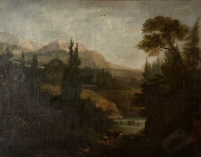 18Th Century French Large Oil On Canvas - Animals Resting Classical Landscape