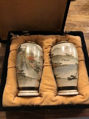 Fine Quality Signed Pair Of Antique Japanese Satsuma Vases