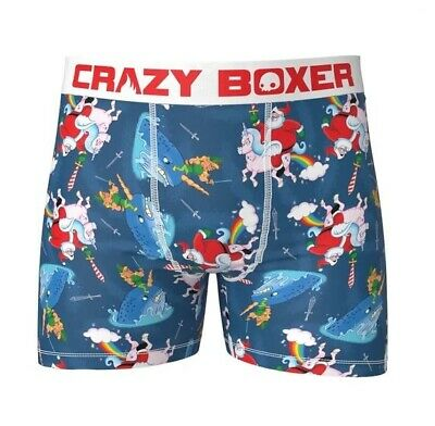 Crazy Boxer Christmas Santa Candy Cane Sword Unicorn Rainbow Men's Boxers NWT