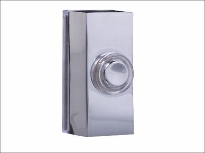 "Wired Flush Fitting Doorbell Push Button diam. Black and Chrome 3.2/"" 80 mm"