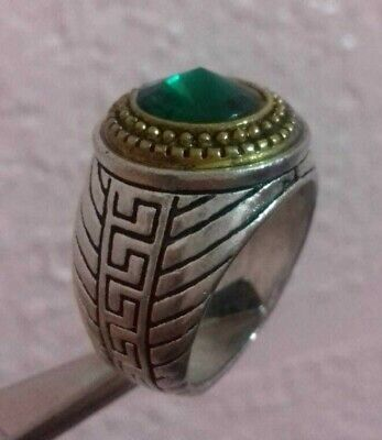 Ancient Rare Extremely Ring SILVER Green Stone  Legionary  Authentic Artifact