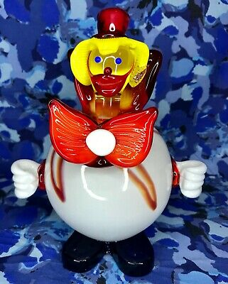 "Glass Clown Figurine Murano Italy Hand Blown 7.5"" Vintage Art Paperweight Ball"