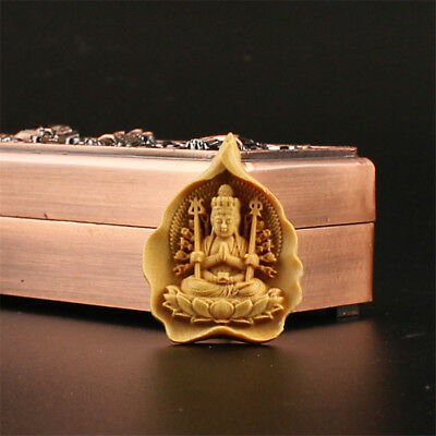 China Exquisite Boxwood Hand engraving Thousands Hands Kwan-yin Pendant h713
