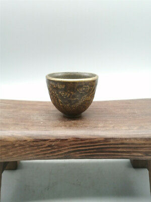 """1.18"""" Collection Chinese copper Handmade carving Dragon Small Wine Glass cup"""