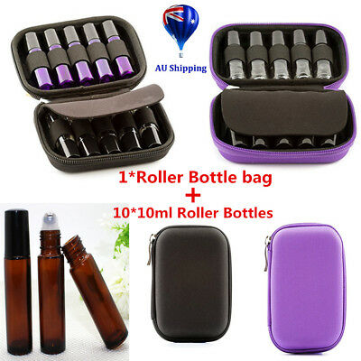 10x10ml Amber Glass Bottles + Oil Case Carry Holder Storage Aromatherapy Bag Y2