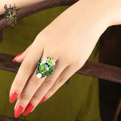 Chinese antique Cloisonne Peacock natural jade Pearl bronze Adjustable ring h793