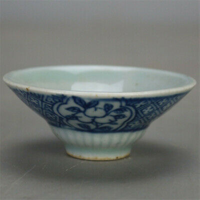 """2.87""""China Antique Blue and white porcelain painting flower pattern cup teacup"""