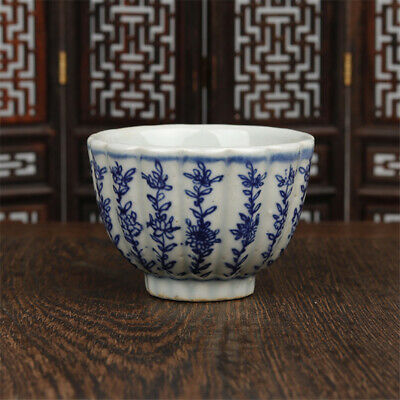 """2.76""""Chinese Antique Blue and white Porcelain Hand painting flower pattern cup"""