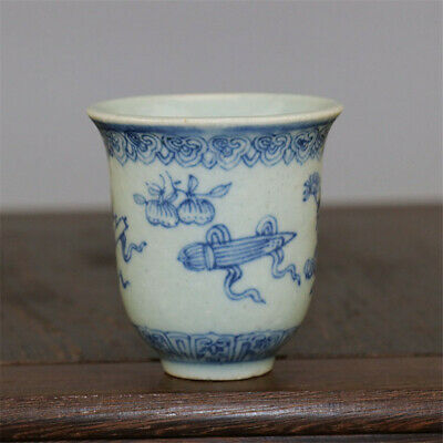 """2.44""""Chinese Antique Blue and white Porcelain painting flower pattern cup teacup"""
