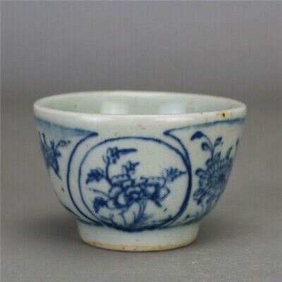 """2.91""""China Antique Blue and white Porcelain painting flower pattern cup teacup h"""