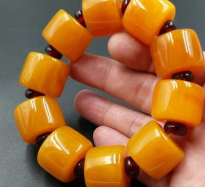 BEAUTIFUL BALTIC AMBER old Beeswax big size Bracelet 5A h829