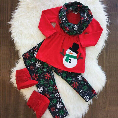 Christmas Toddler Kids Baby Girls Dress Tops+Pants Leggings Outfits Clothes Set