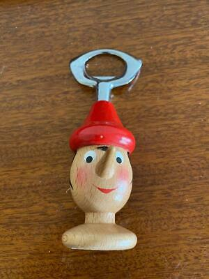 Vintage wooden mastro geppetto pinoccho bottle opener bar collectable made Italy