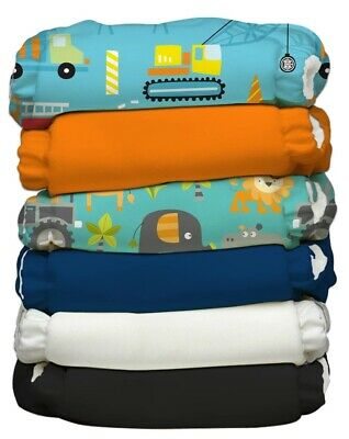 Charlie Banana Hybrid AIO Reusable One Size Baby Cloth Diaper 6 PK Super Dude