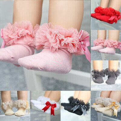 Infant Baby Kids Girl Princess Bowknot Sock Lace Ruffle Frilly Trim Ankle Socks