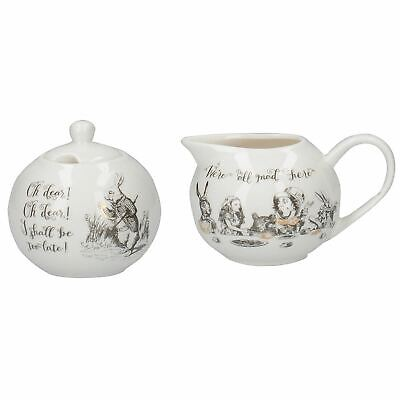Alice In Wonderland Sugar Bowl & Creamer Fine China Milk Jug Tea Serving Set