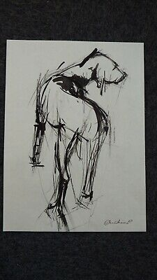 Original signed expressive style drip ink drawing on paper of a dog standing