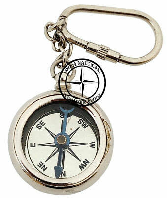 Nautical Chrome Finish Compass Key Chain Vintage Keychain Key Ring Collectible