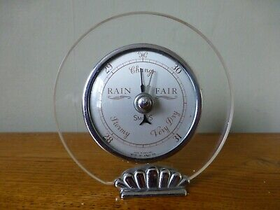 Art Deco Style Circular Desk Aneroid Barometer.Made in England,Smiths. c1950