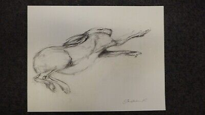 Original signed expressive pencil drawing on paper of a hare jumping 54 x 41,5cm