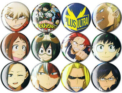 My Hero Academia 12 pins buttons anime All Might Izuku Toshinori Katsuki Momo