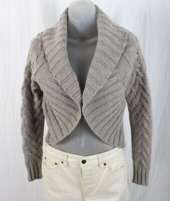 Vince Women's Beige Cropped Cable Knit Open Front Cardigan Sweater Size XS