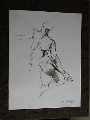 Original chinagraph pencil expressive life drawing female nude balancing pose