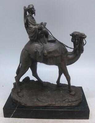 Orientalist Bronze Arab Hunter on Camel - Signed A LEONARD 'Dromedary'