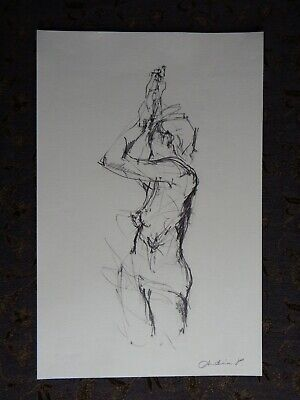 Original soft pencil expressive life drawing female nude standing twisting pose