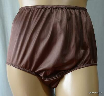 VINTAGE STYLE SILKY SOFT CHOCOLATE BROWN NYLON KNICKERS PANTIES ~ XL     s