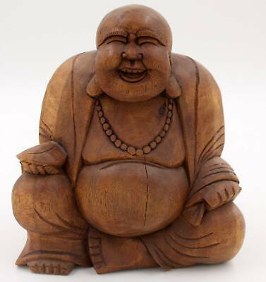 Lachender Dick Bauch Buddha Lucky Holz Figur Happy Budda Smiling AsienLifeStyle