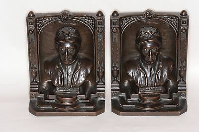 American Barnes and Hubbard bookends fine cast sculptures in iron Dante c1920