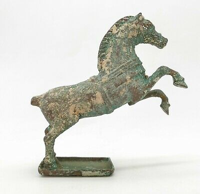 Ancient Roman Ca.100 Ad Bronze Hollow Horse Statue With Base -   R432