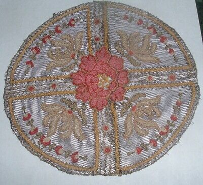 Antique intricate detailed Fine French Net Lace Doily Petit Point Accents