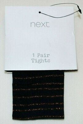 New & Tagged NEXT PARTY TIGHTS Opaque Black & Gold Stripe Fit Ages 3 to 4 Years