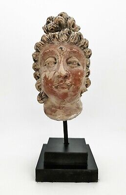 Ancient Gandhara Ca.300-400 Ad Red Stone  Buddha Head R435