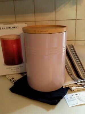 Le Creuset Canister With Wood Lid Xxl Storage Jar 2.5 Qt. Sugar Pink New/Box