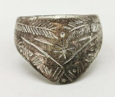 Ancient Roman Silver Ring Decorated Archers Ring   - R475