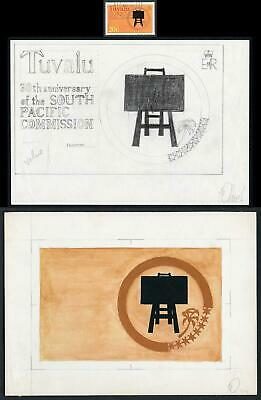 Tuvalu 1977 Original Art work by Oliver for South Pacific Commission issue
