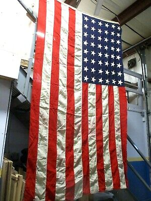 """OLD LARGE WOOL USA UNITED STATES AMERICAN FLAG with 48 SEWN STARS ~ 54"""" X 92"""""""
