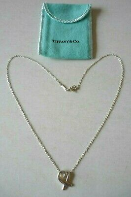 TIFFANY & Co.Paloma Picasso Sterling Silver Loving Heart Necklace - Excellent