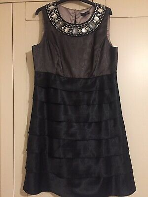 Christmas Party Cocktail Dress Next Black Bronze/Gold Worn Once UK16