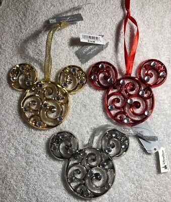 Disney Parks 3 Mickey Mouse Icon Filigree Jeweled Metal Christmas Ornaments